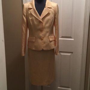 Evan Picone Yellow Brocade Suit